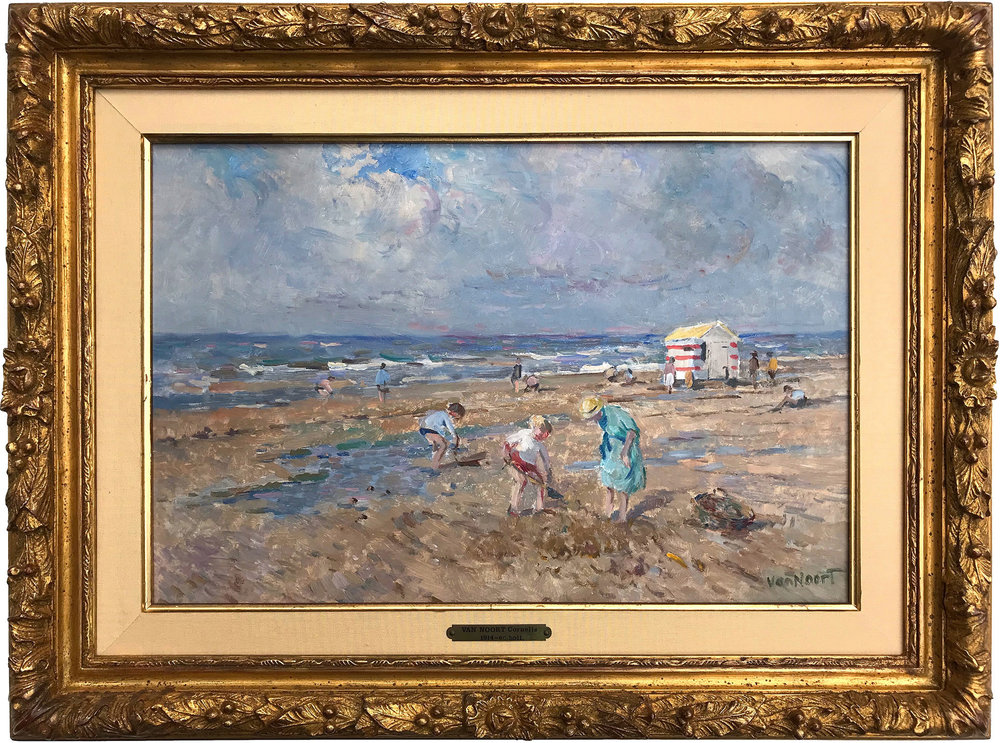 Beach Scene with Figures and Beach Hut, Mid-20th Century