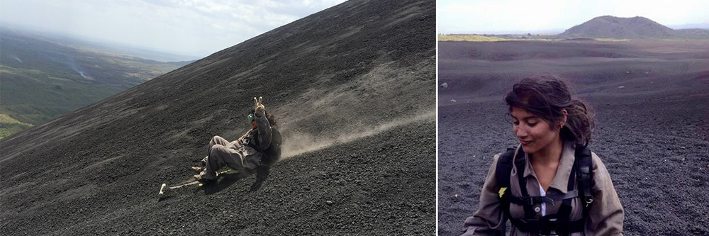 Left photo: Boarding down a volcano in Nicaragua because what is fear? Right photo: I think I'm eating volcanic ash??