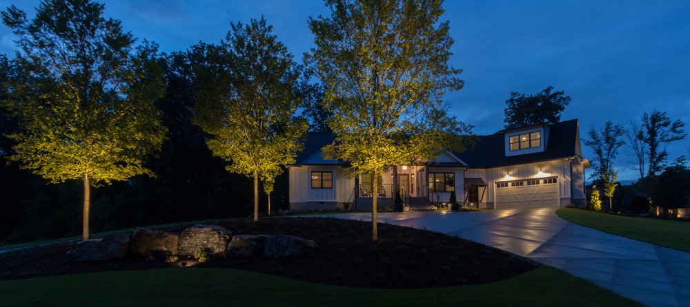 Ballyhoo Court Landscape Design and Night Lighting Design Lake Robinson