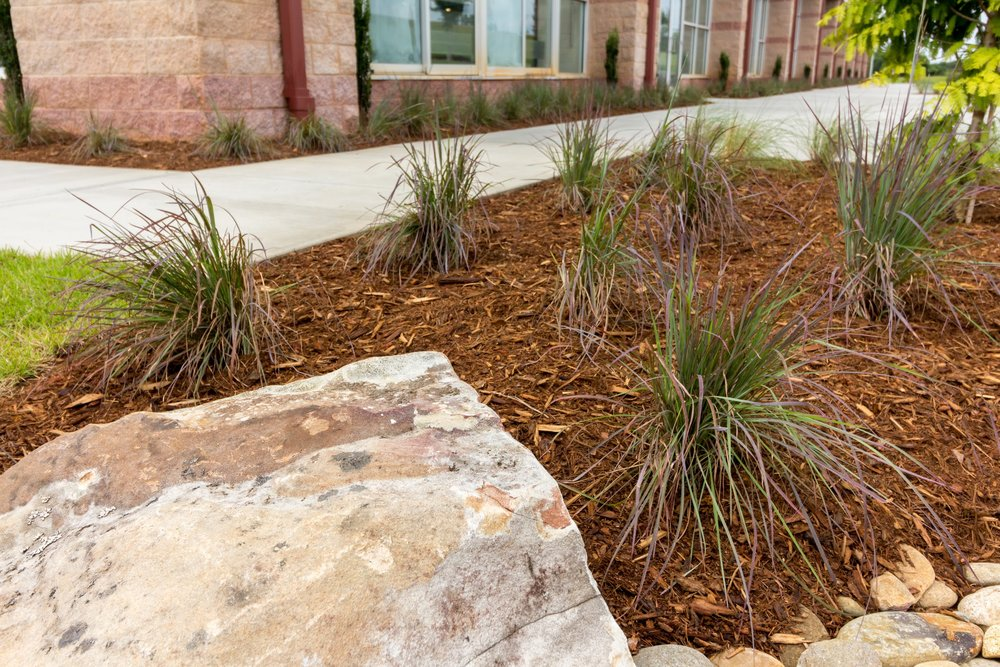 Landscape Design Middle Tyger YMCA Mulch Beds, Rockscapes and Plants
