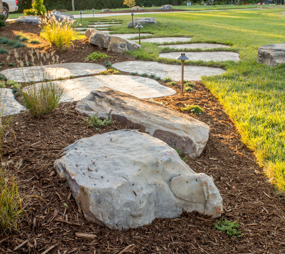 Custom Landscape and concrete design and stamping Davis Residence