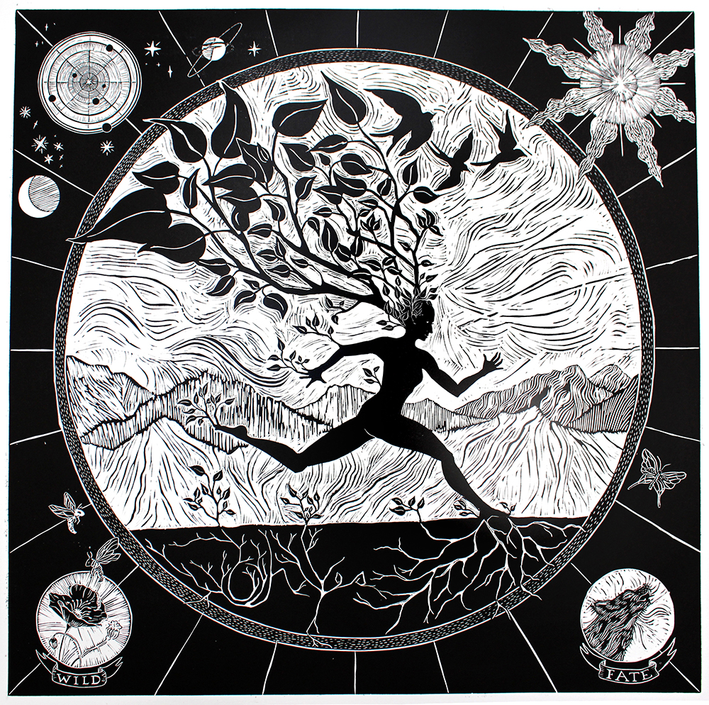 "Root and Rise, 2016.  Linoleum Print 36"" x 36""  For the San Francisco Center for the Book Steam Roller Printing Festival ."