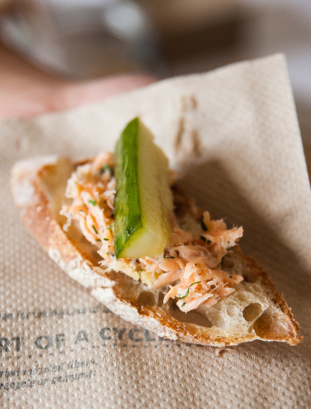 potted salmon and pickled cucumber on sourdough baguette