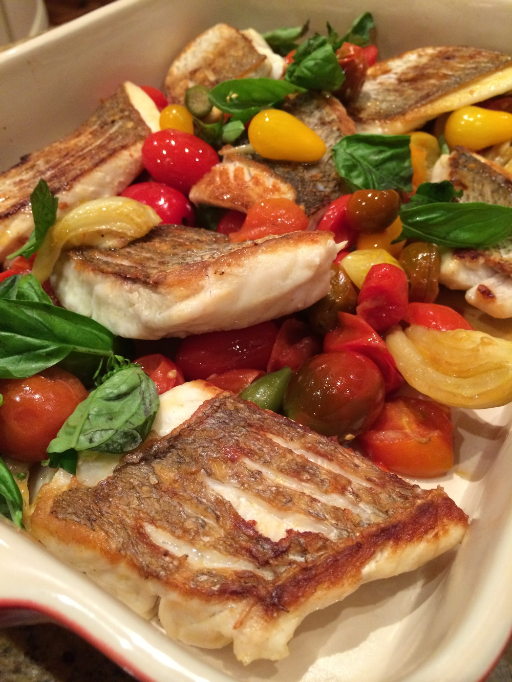 crispy skin snapper with roast tomatoes, caperberries and fennel share plate