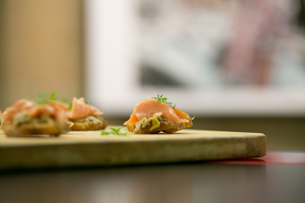 Hot smoked salmon, charred leek, crostini (bushfires in Tasmania)
