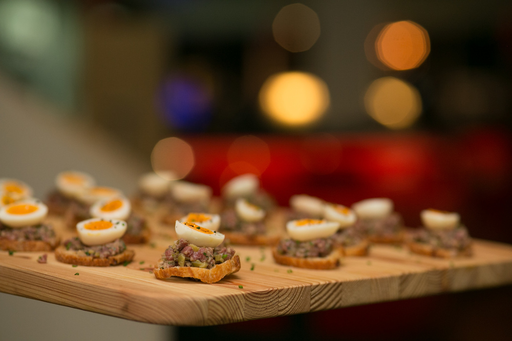 Biodynamic beef tartare, quail egg, native pepperberry, crostini (a sustainable land-based food system)