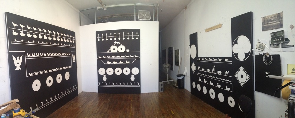 Studio view, July 2014. L to R:  The Ideal Classroom ,  Threat Assessment  and a work in progress.