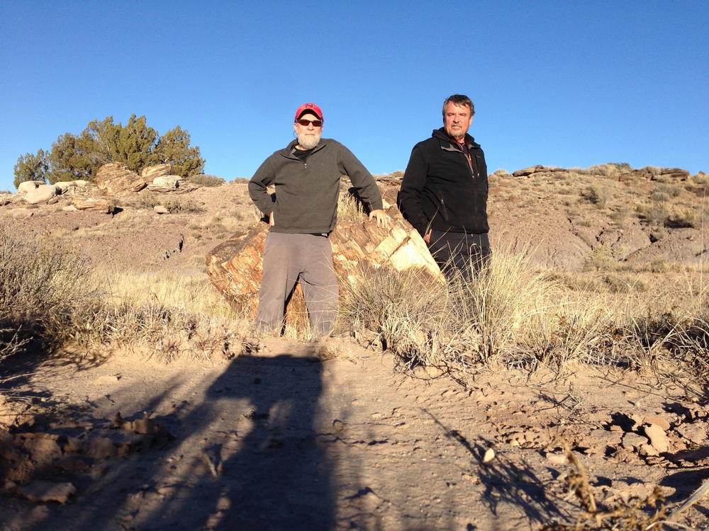 Checking out some petrified wood with Mark about a mile from his house.
