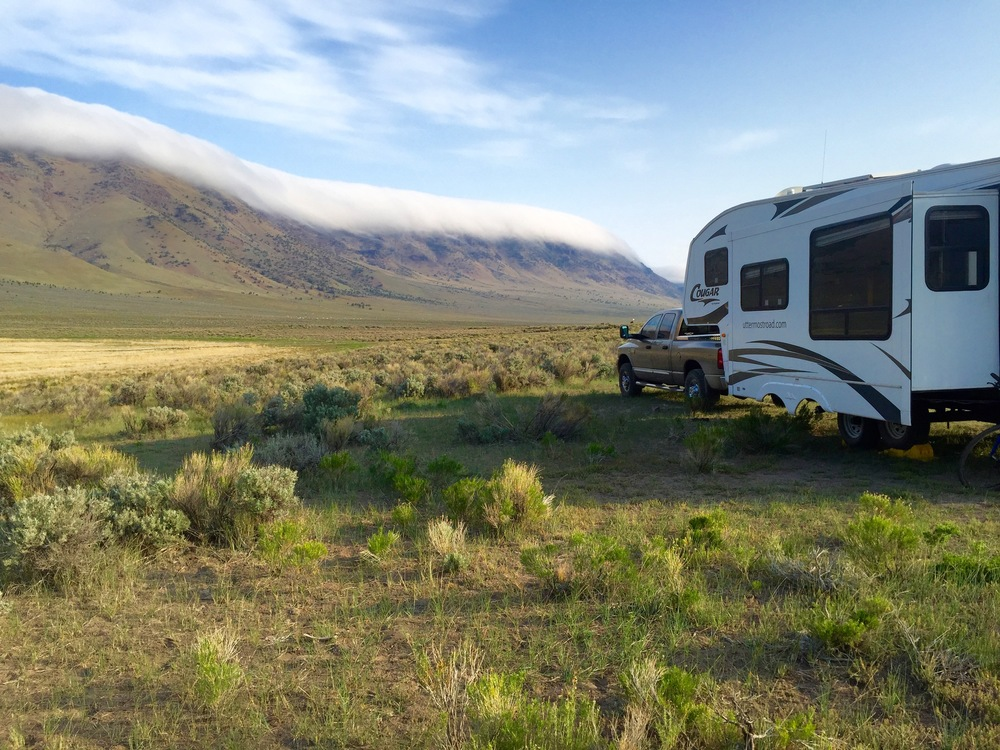 A blanket of clouds covering the Steens