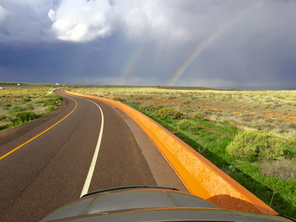 A double rainbow west of Chambers, AZ