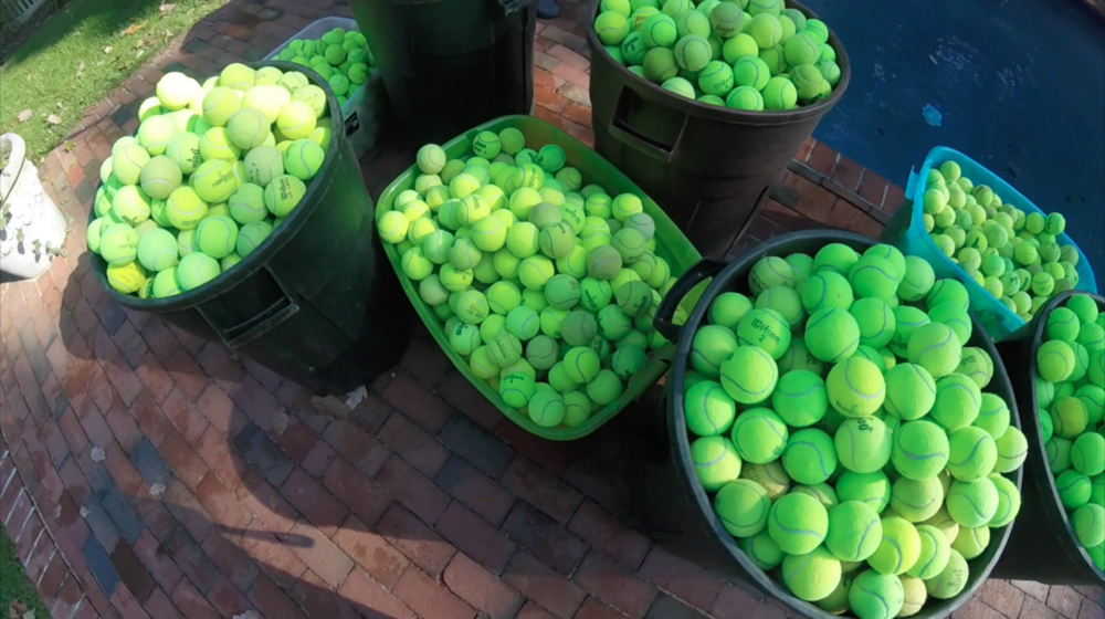 Garbage Cans full of Tennis balls for Dan's Dog Walking and Pet Sitting Video Tennis Balls for Everything.png