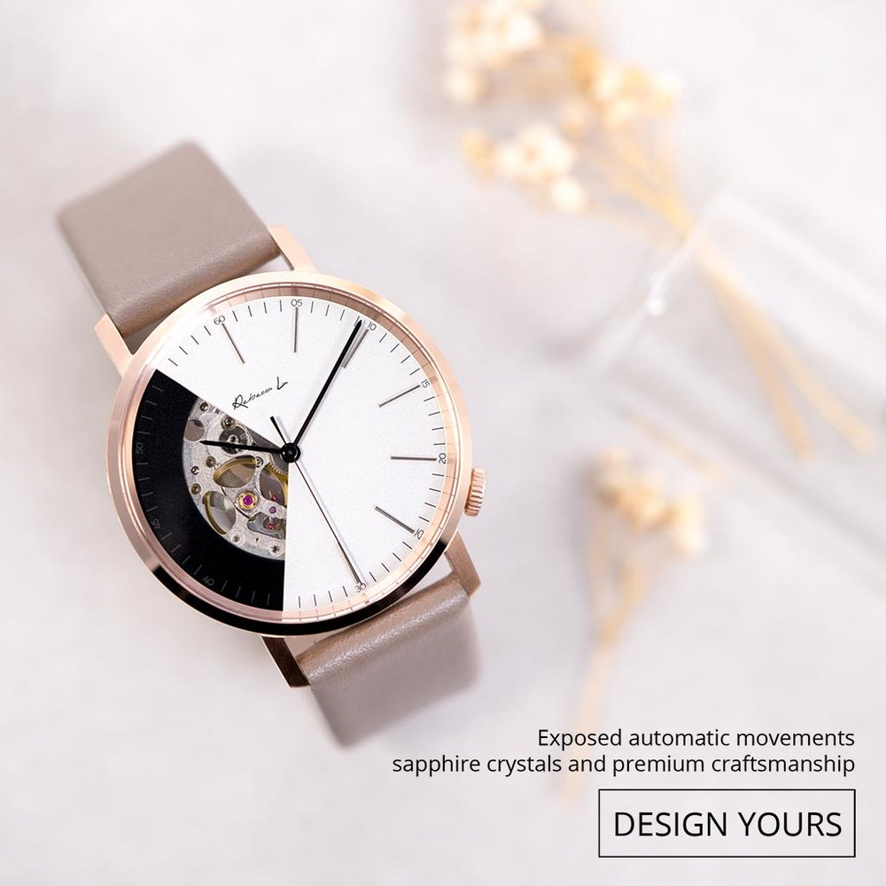 獨有的鏤空錶盤設計,而且所隻腕錶亦由EONIQ 的專業鐘錶匠人手裝嵌。