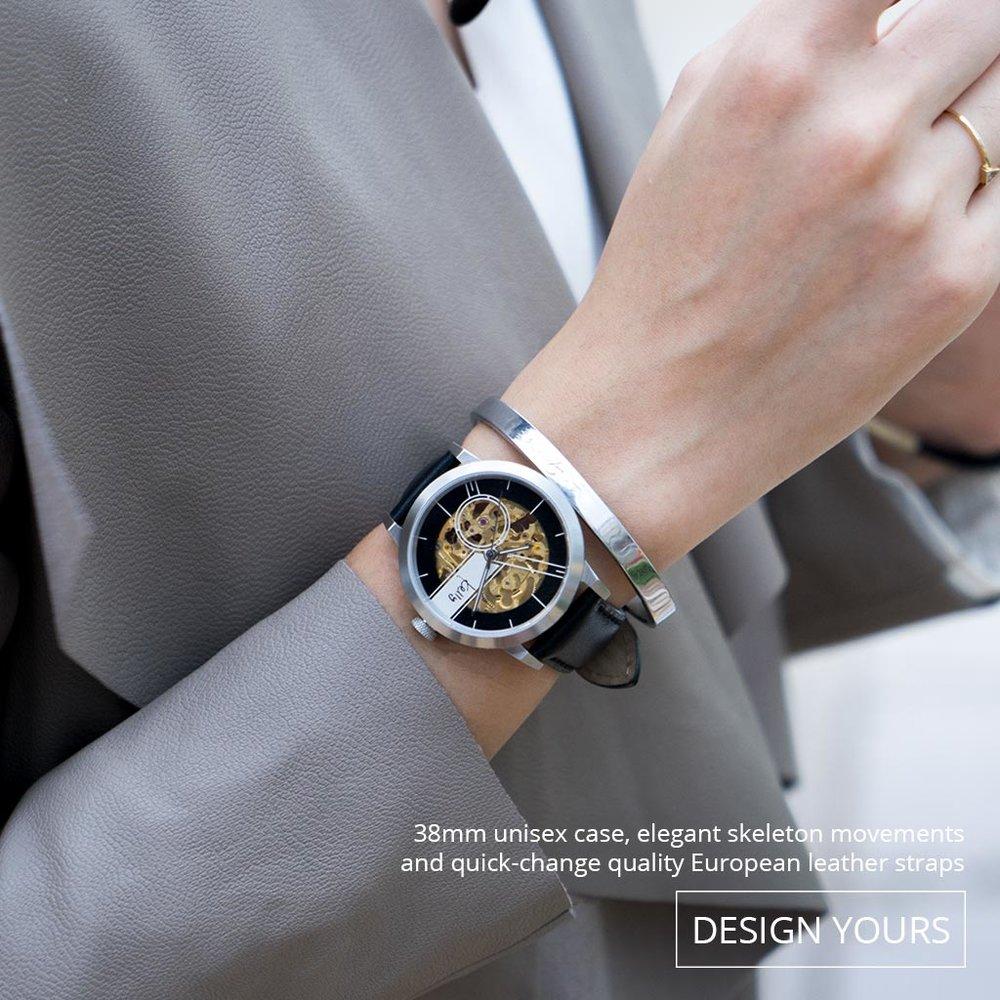 為女士喜愛的38mm 腕錶,配上優質的歐洲真皮錶帶,更顯高貴大方。