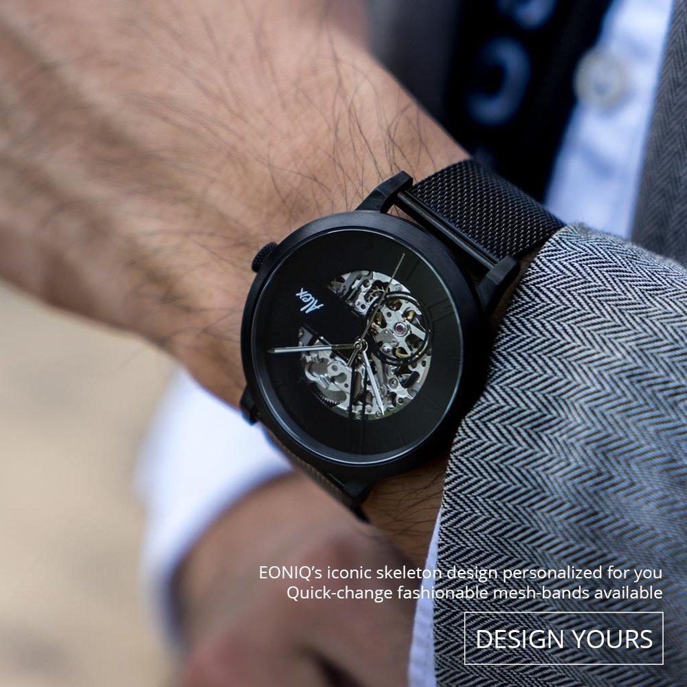 個人化鏤空機械腕錶錶面設計, 配上鋼織錶帶。 適合追求時尚又喜歡獨特設計的客人。