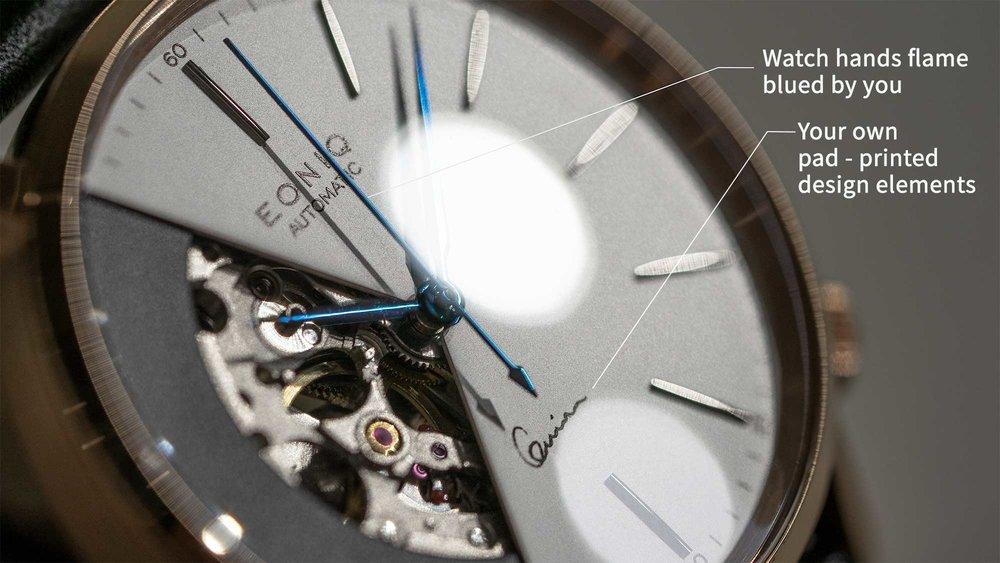 Skeleton watch produced in EONIQ workshop
