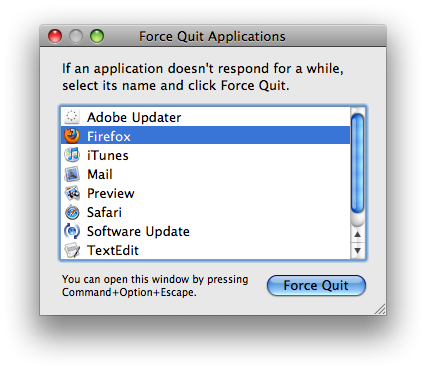 Force Quite Dialogue Box