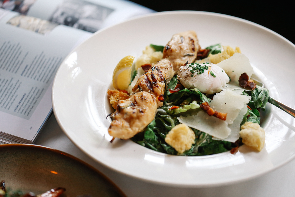 PS. Caesar Salad with Rosemary-Honey Dijon Chicken