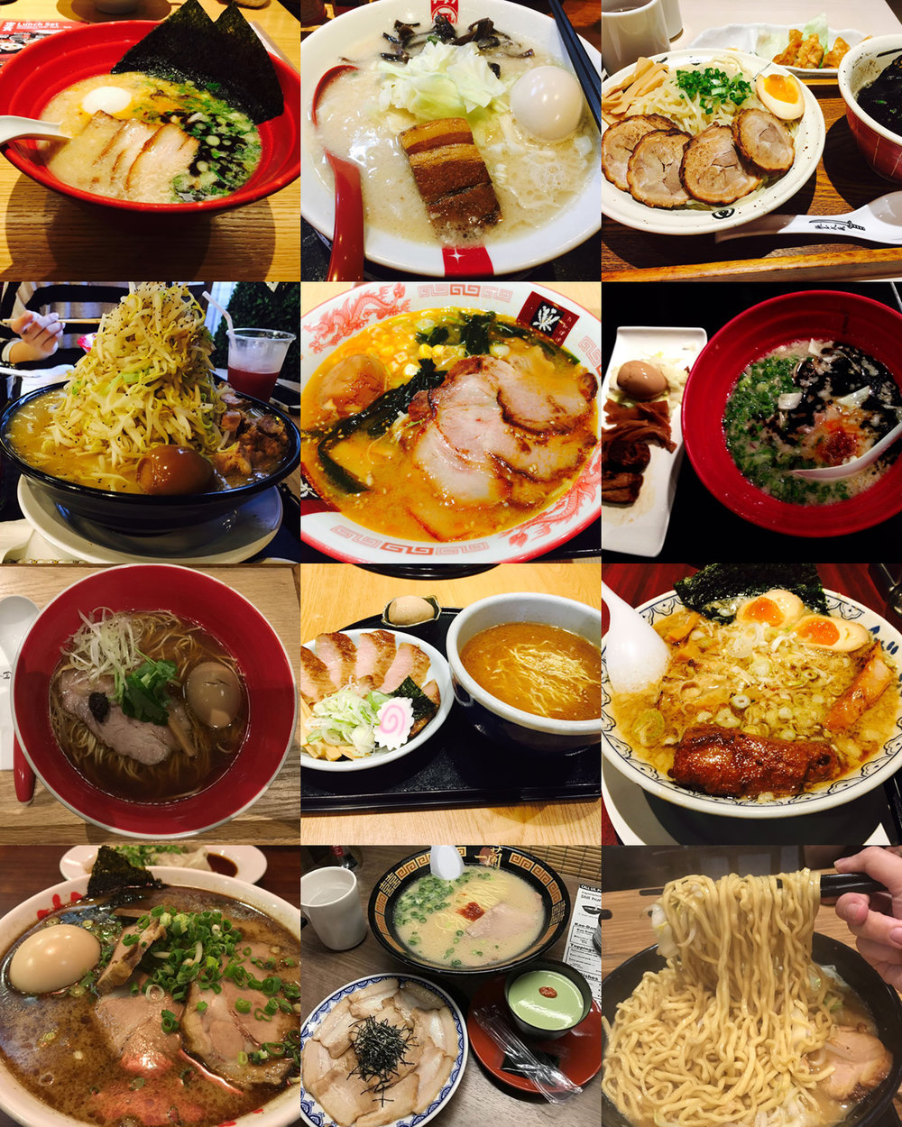 Collage of Alan's photos of the different Ramen he's tried!