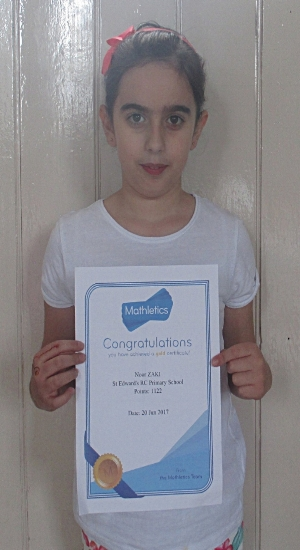 Congratulations to Noor on being awarded with a gold Mathletics certificate! Well done!