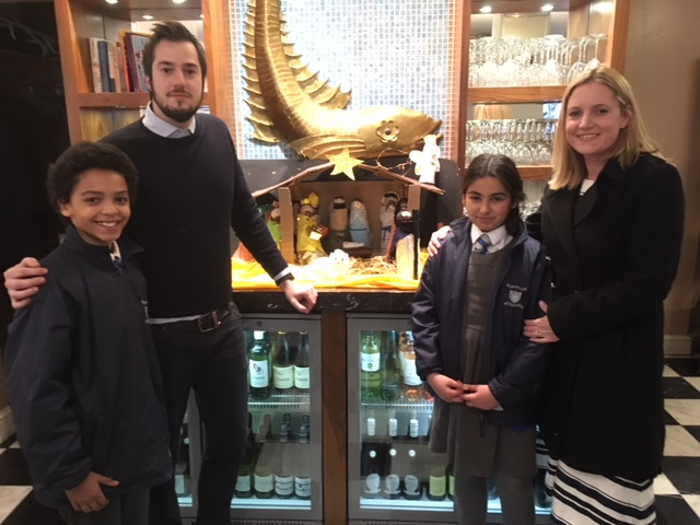 Our winning entry from Class 14, with the class 4 crib on display in The Seashell Restaurant, Lisson Grove.