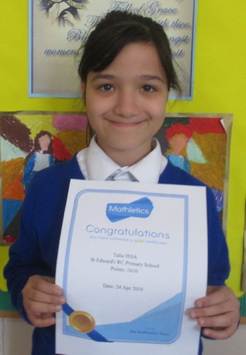 This week Talia is the proud recipient of a gold Mathletics certificate. Congratulations!