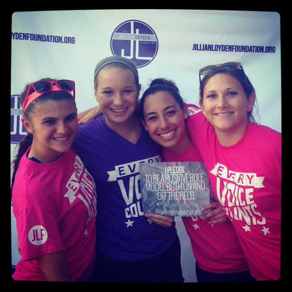 TKI students Shelby Money, Grace Gordon, Jess McKee, and Shae Yanez (Left to Right) take part in JLF Every Voice Counts campaign, by pledging 'To be positive role models both on and off the field'.