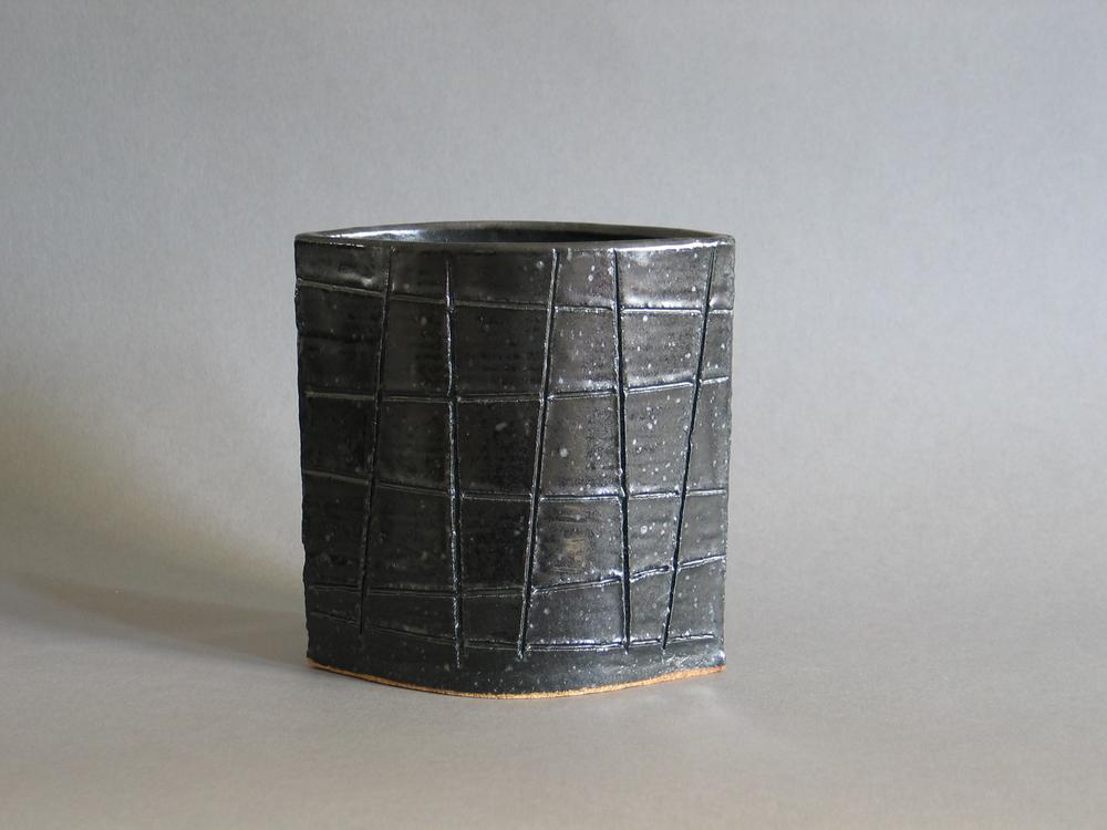 Black Grid Vase