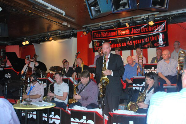 NYJO 45th Anniversary, 100 Club, London, 2010.  Andy Panayi, Sammy Mayne, Nigel Hitchcock, MW, Claire McInerney