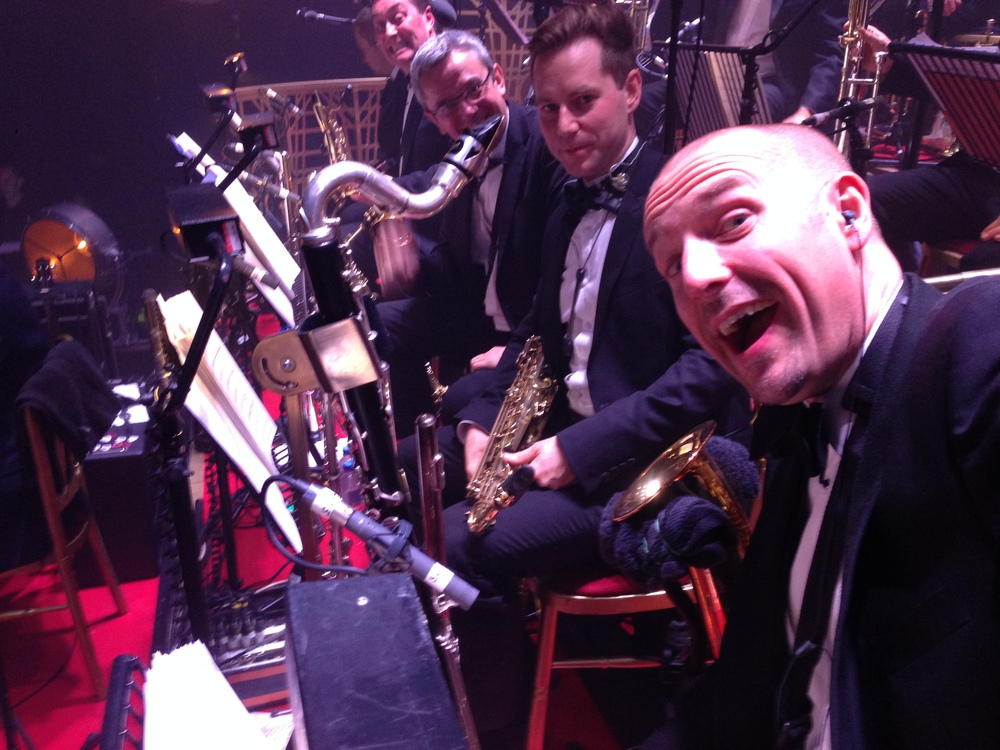 Robbie Williams Sax Section, London Palladium, 2013. Dave Bishop, Jamie Talbot, Graeme Blevins, MW