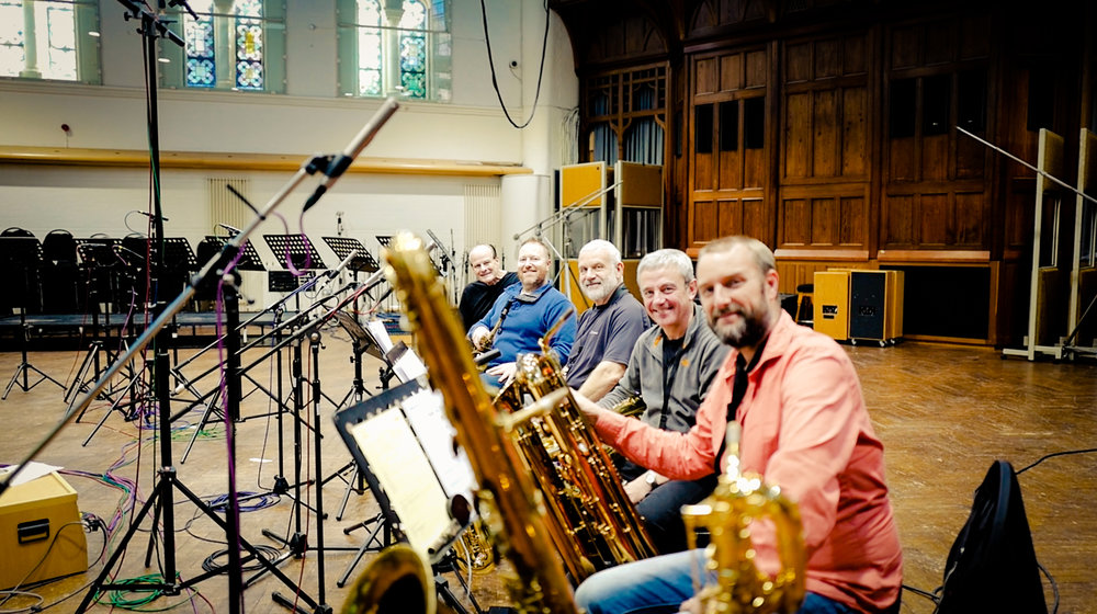 Recording baritone sax, bass sax, tubax at AIR Studios for the Isle Of Dogs movie, September 2017. Conrad Pope, Howard McGill, Phil Todd, Jamie Talbot, MW