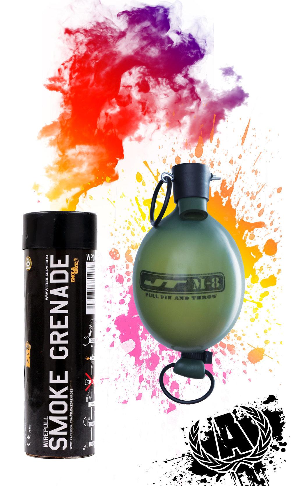 Smoke or Paint Grenades     Standard Smoke Grenade  $9.99   XL Smoke Grenade  $14.99  Paint Grenade  $9.99