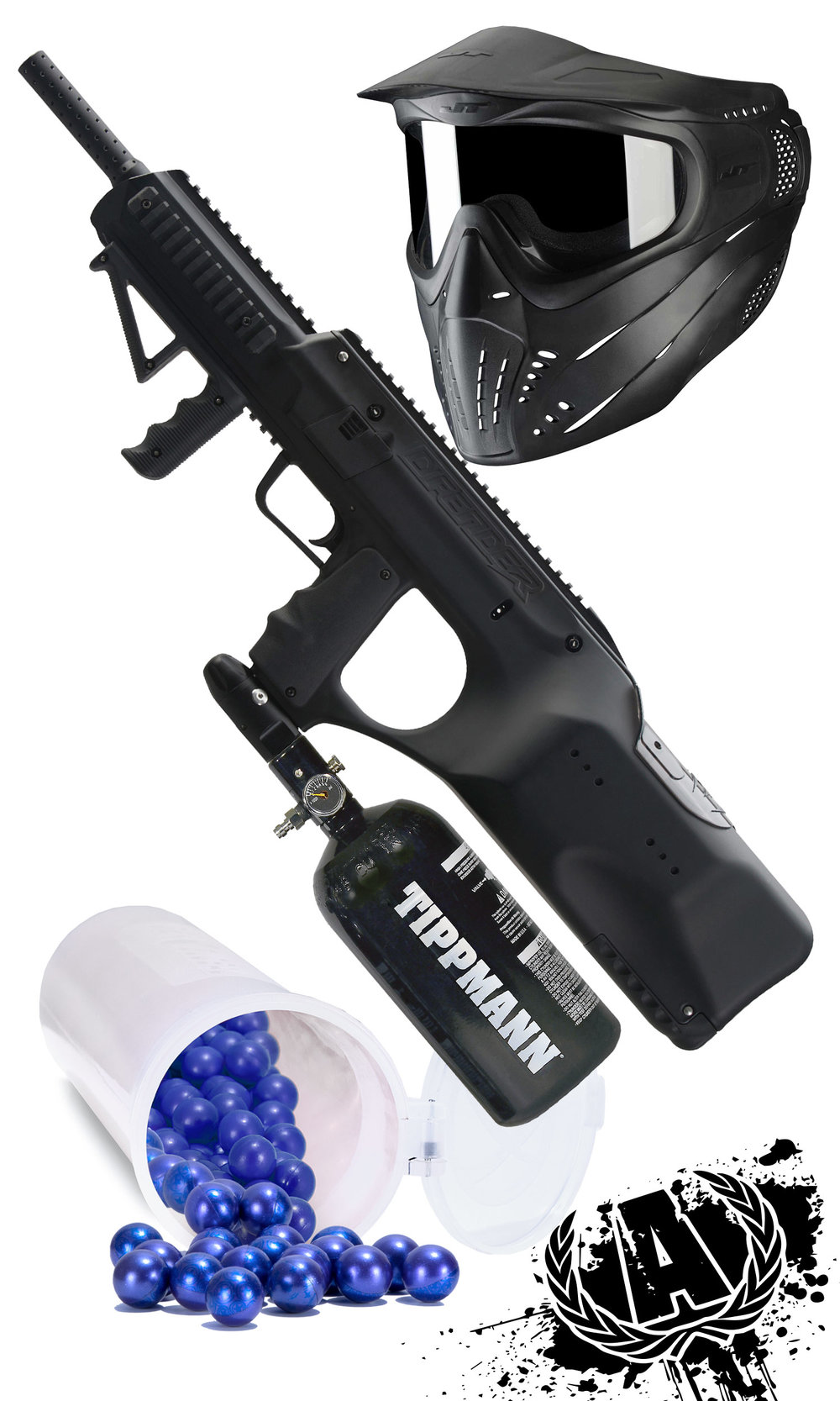 Gun Upgrade     Click to learn more about this amazing product     $69.99     Comes with 640 rounds of paintballs, mask, air tank, all day entry, all day air and a paintball vest