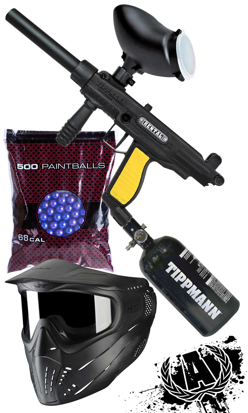 Includes, all day entry, all day air, paintball marker, hopper, air tank, mask, and 500 rounds of paintballs - Premium Package $39.99