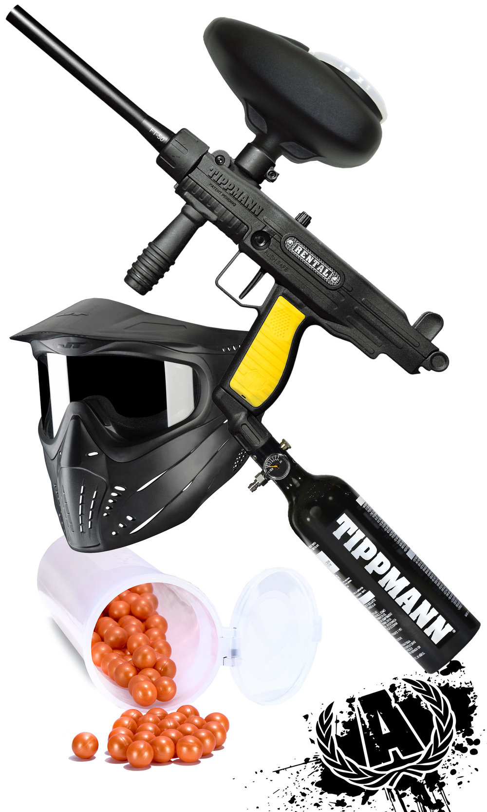 Includes, all day entry, all day air, paintball marker, hopper, air tank, mask, and 140 rounds of paintballs - StandardPackage$24.99