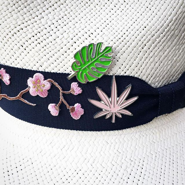 Decorate our new hats with our new enamel pins | palm leaf + pot leaf | get summer #lit | link in bio | #madeinamerica #420 #stonerchic #beachstyle #summervibes #style #unisex #flowerpower