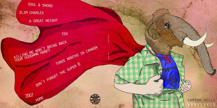 Carson Wells 'Wonderkid' LP cover illustration and design