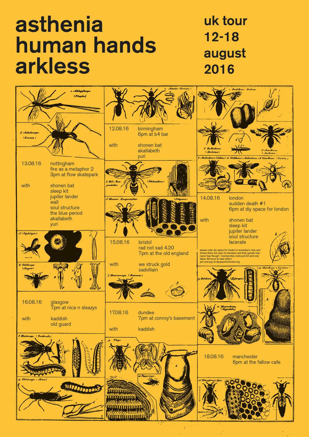 Asthenia / Human Hands / Arkless tour poster