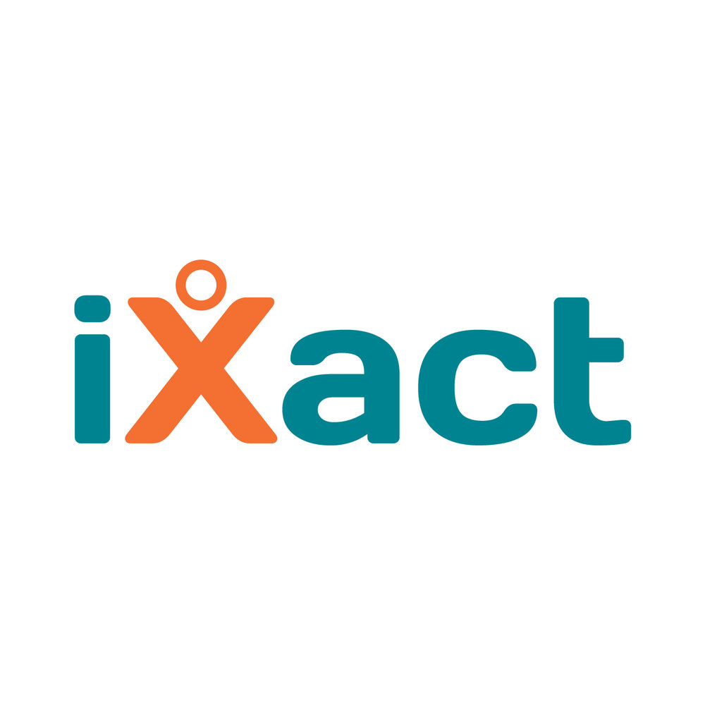 Logo for iXact, a public sector street cleansing and estates management service operating as a subsidiary to Newham Borough Council.  Branding / visual identity / logo / illustrator / iconography / typography