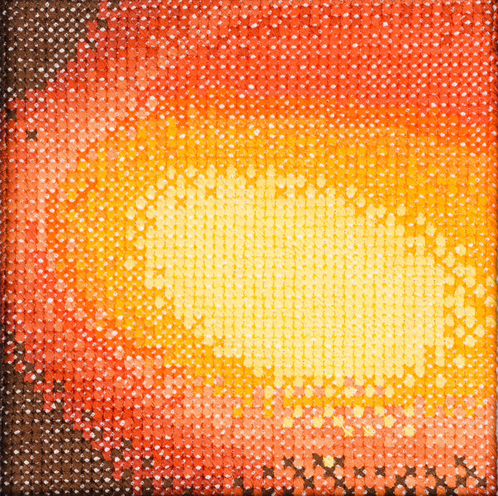 PIERRE LE RICHE. Gradient in orange and yellow, 2016. Cross-stitch embroidery on Aida cloth. 2500 stitched. 190 x 190mm. Framed.jpg