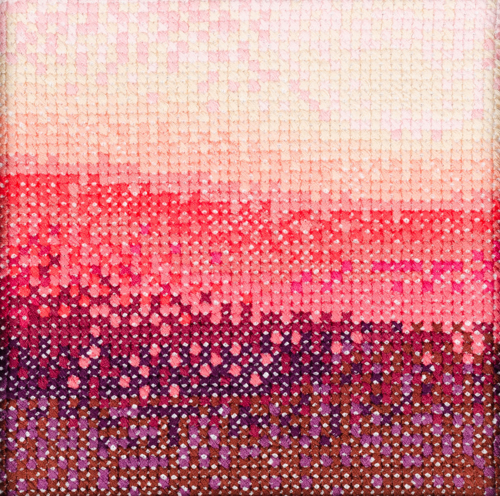 PIERRE LE RICHE. Gradient in pink and purple, 2016. Cross-stitch embroidery on Aida cloth. 2500 stitched. 190 x 190mm. Framed.jpg