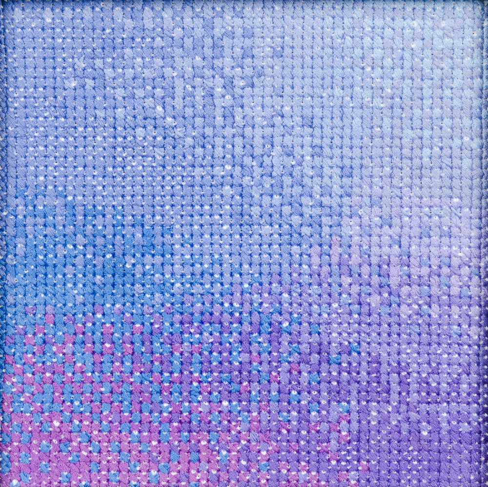 PIERRE LE RICHE. Gradient in purple and blue, 2016. Cross-stitch embroidery on Aida cloth. 2500 stitched. 190 x 190mm. Framed.jpg