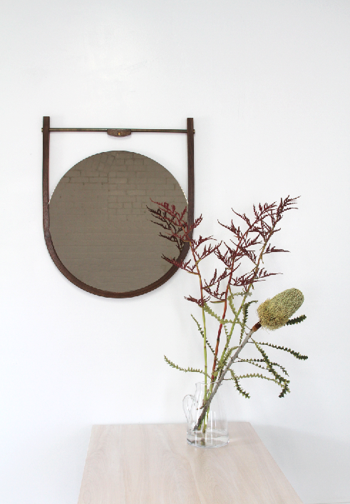 MOANA MIRROR - WALNUT, BRONZE MIRROR, and ANTIQUED BRASS HARDWARE