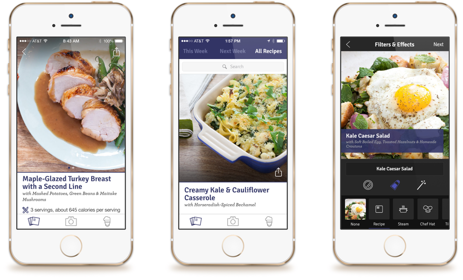 The app is a full cooking companion that allows customers to manage their subscriptions, follow recipes with custom timers in the kitchen and when the meal is complete take photos with Blue Apron branded stickers.