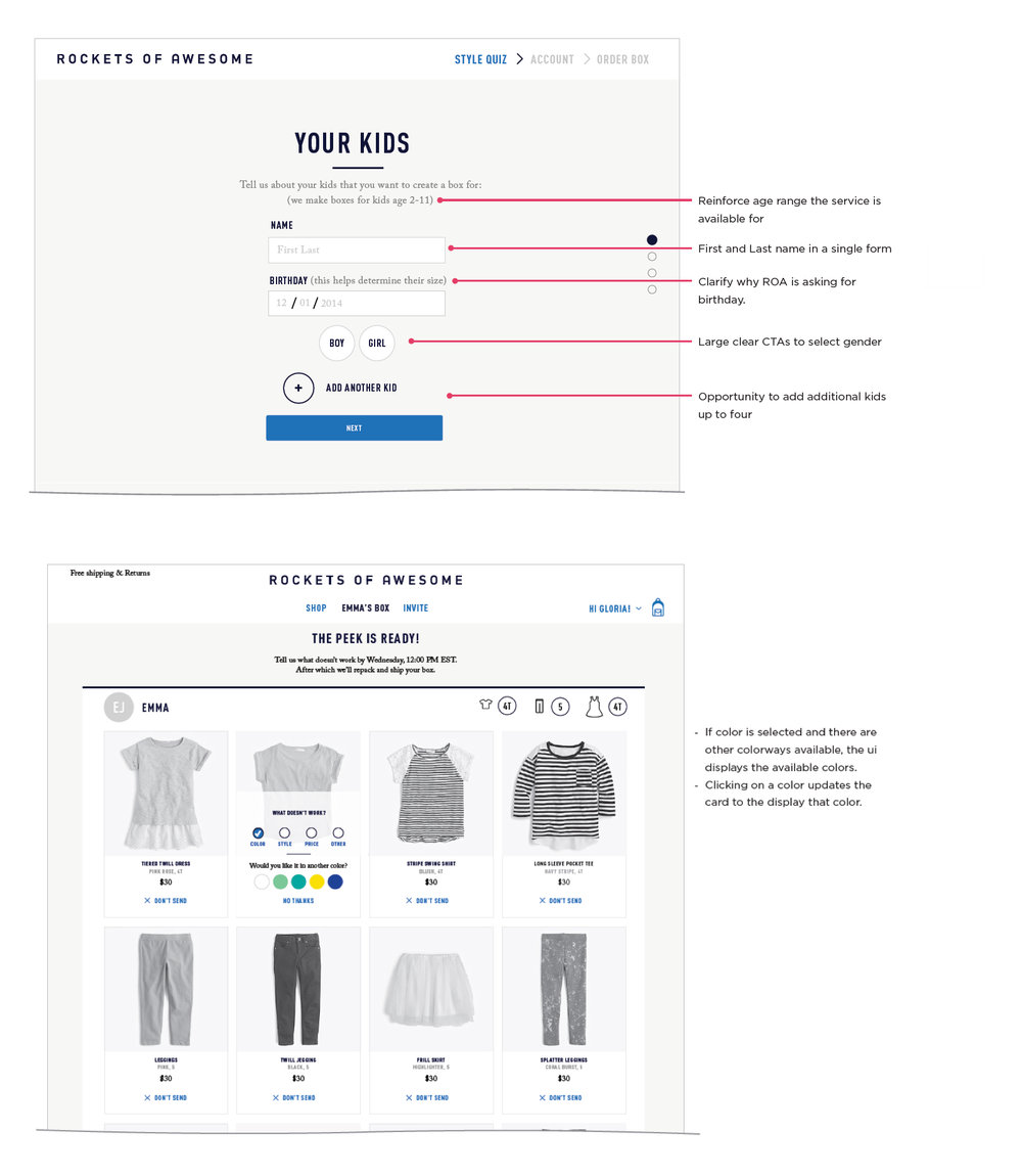 We used wireframes to explore how new and returning customer experiences differ.