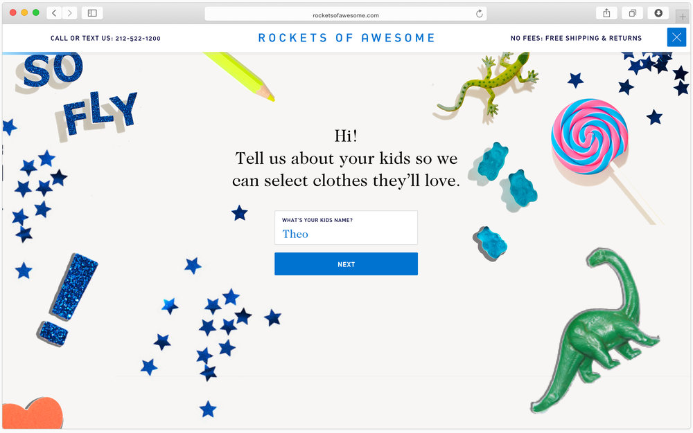 An on-boarding quiz, including questions about clothing preferences, personalizes the customer's shopping experience.