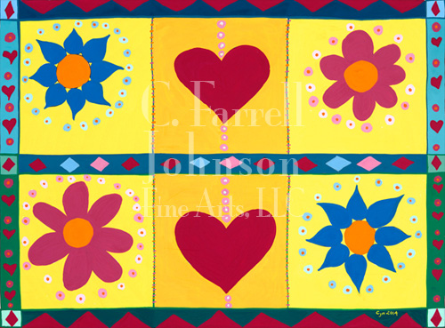 "Hearts and Flowers 4-1/4"" x 5-1/2"" $20.00 for set of 12"