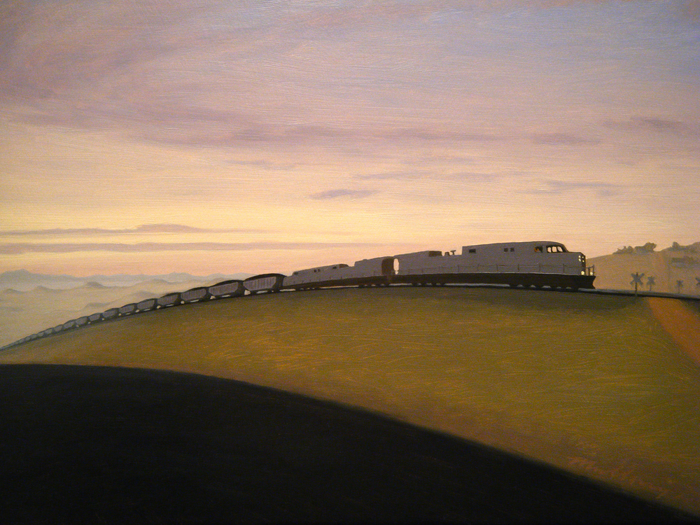 """Lost Springs Coal Train (Wyoming)"" Oil on panel 12"" x 16"""