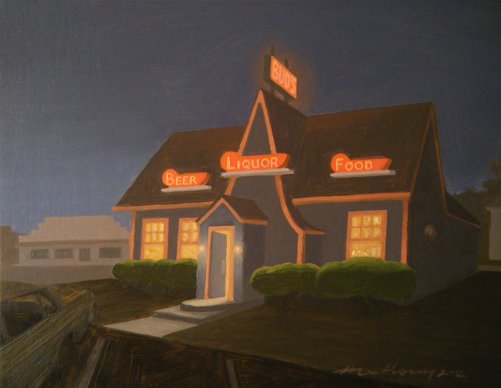 """Beer, Liquor, Food (Freemont, Ohio)"" Oil on panel 7"" x 9"""
