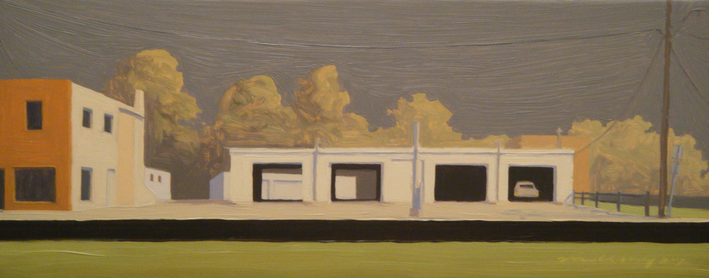 """Ohio Garage"" Oil on panel 6"" x 14 7/8"""
