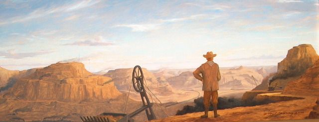 """T. Roosevelt Constructing the Grand Canyon"""